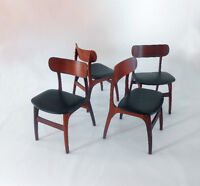 1960's Hans Wegner Danish Style Teak Chairs Set of Four