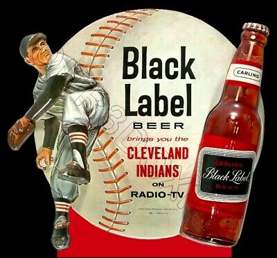 1950's Black Label Beer Die Cut Store Counter Standup Sign Cleveland (Cleveland Stores)