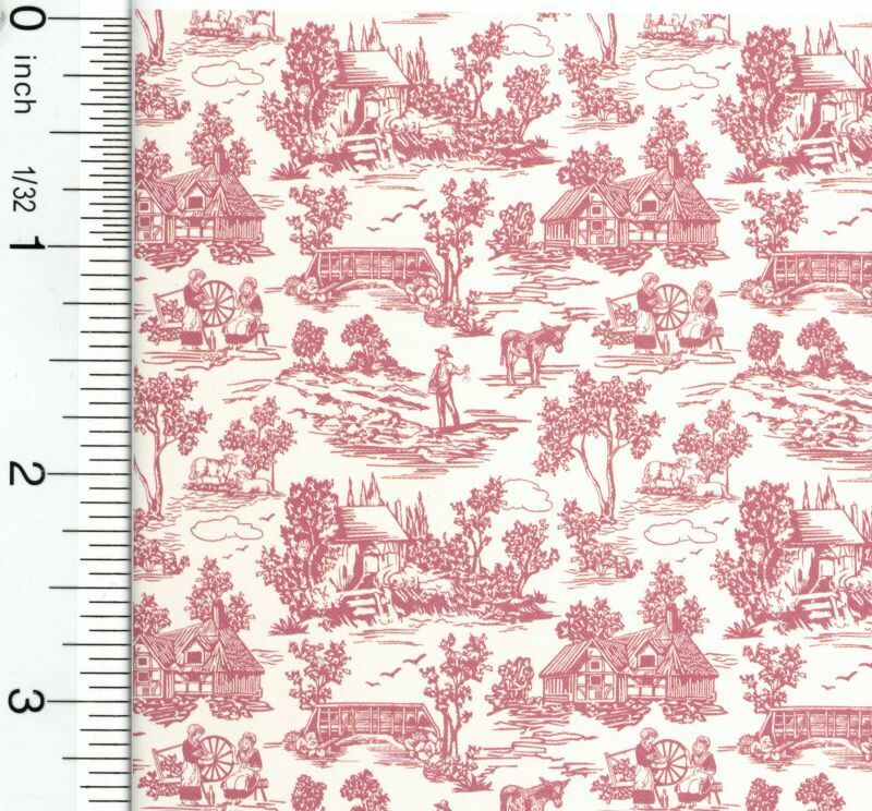 Dollhouse Wallpaper French Champagne Toile Red