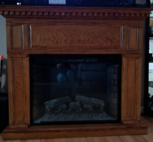 Electric fire place and bathroom sink quartz counter
