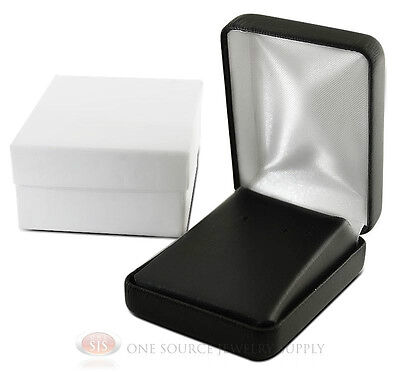 Black Faux Leather Pendant Earring Jewelry Gift Box 2 14 X 3 X 1 14h