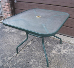 Square Patio Glass top Table in good condition