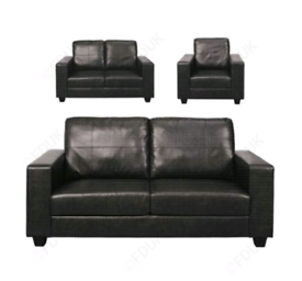 Boxed Faux leather sofa black or brown colours available free local de