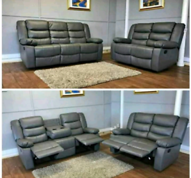 Brand new grey leather recliner sofas