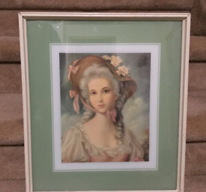 GORGEOUS VICTORIAN LADY PRINT SIGNED BY S Z L