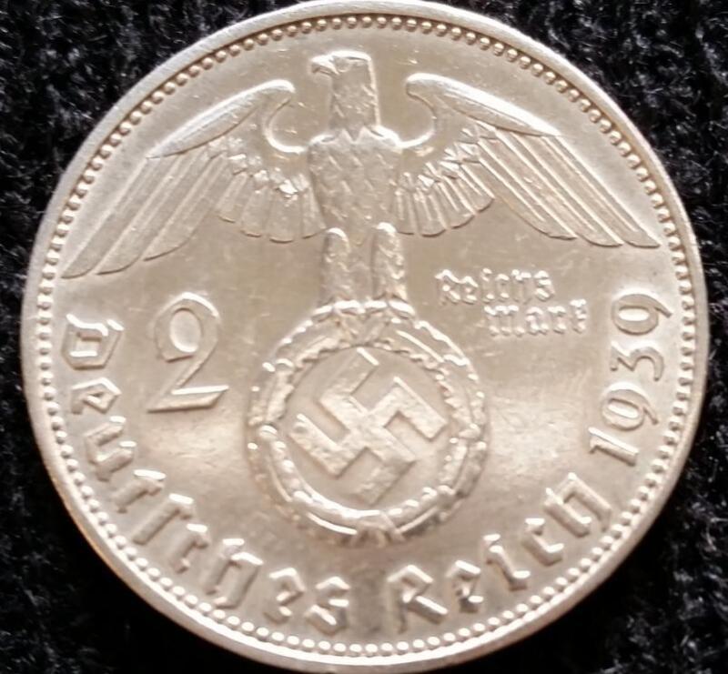 German WWII 2 Reichsmark SILVER Genuine Coin Historical WW2 Artifact