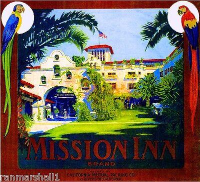 Riverside California The Mission Inn Orange Citrus Fruit Crate Label Art Print Mission Orange Label