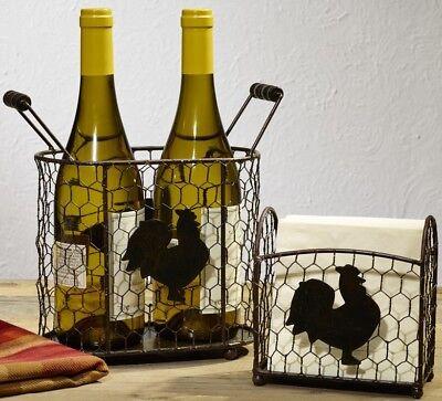 Rooster Chicken Wire Caddy Set  2 Metal Baskets Napkin Holder Farmhouse Kitchen