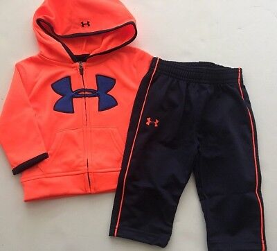 Under Armour Baby Boys Tracksuit Jacket Pants Size 3 6 9 Months Neon Orange Navy