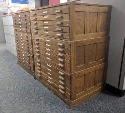 Vintage Wooden Hamilton Flat File Cabinet 37c Oak Map Blueprint Artwork