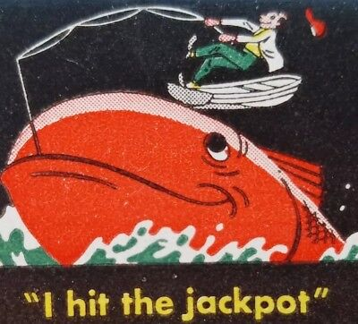 "Vtg HARRAH'S CLUB Reno NEVADA ""I Hit The Jackpot"" Matchbook fish boat j63"