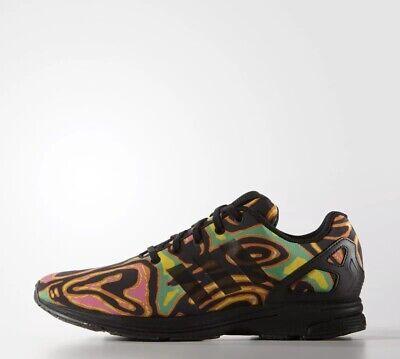 Adidas Originals Jeremy Scott Black ZX Flux Tech Psychedelic Shoes New Uk 9.5