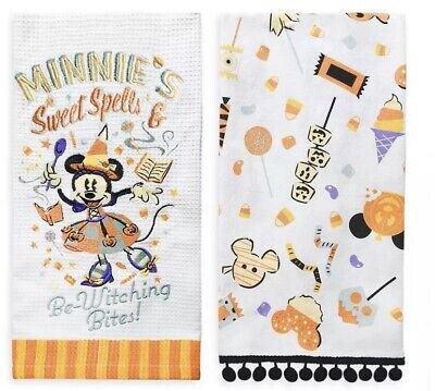 Disney Parks 2020 Halloween Kitchen Dish 2 Towel Set Minnie Mouse Witch NEW