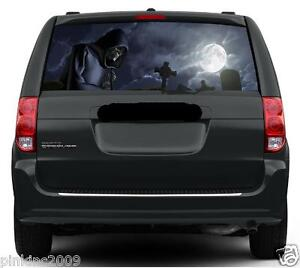 Grim Reaper in Cemetery Rear Car Window Vehicle Graphic Sticker/Decal