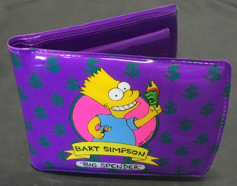 VINTAGE RETRO 1990 BART SIMPSON BIG SPENDER PURPLE WALLET