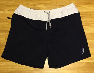 Nautica Navy Large White Stripe Swim Trunks Board Shorts Size XXL