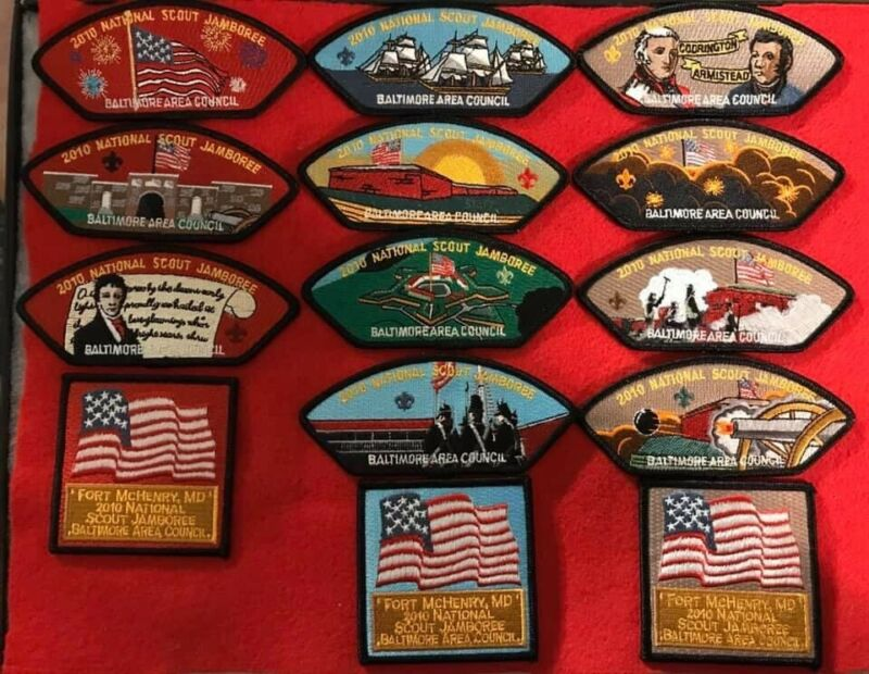 BALTIMORE AREA COUNCIL JAMBOREE 2010 SET PATCH BOY SCOUT FORT MCHENRY MARYLAND