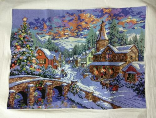 "New Completed finished cross stitch needlepoint""Christmas Holiday""decor gifts"