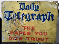 Old Daily Telegraph Ad Board