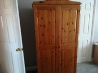 Pine bedroom furniture - matching wardrobe, chest of drawers, side table