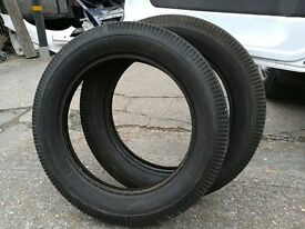Vintage motorcycle tyres, used but loads of life left in them.