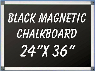 Aluminum Framed Magnetic Black Chalkboard With Tray 24 X 36