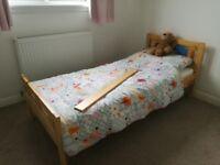 Toddler Bed by Ikea inc guard rail, mattress, mattress protectors, duvet, and sheets