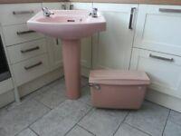 Rose Pink/Coral Bathroom Sink and Cistern