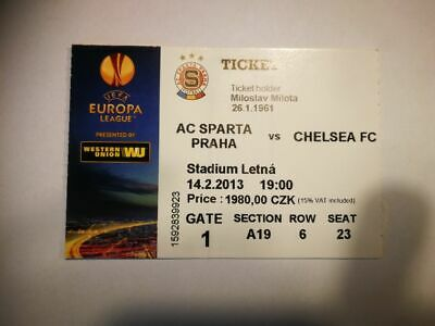 R2 TICKET SPARTA PRAHA - CHELSEA FC 14/02/2013 UEFA EUROPA LEAGUE