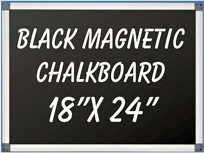 18 X 24 Aluminum Framed Magnetic Black Chalkboard With Tray