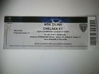 TICKET MSK ZILINA - CHELSEA FC 15/09/2010 CHAMPIONS LEAGUE R1