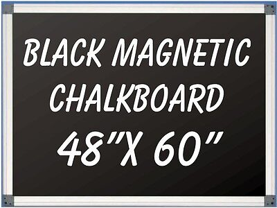 48 X 60 Aluminum Framed Black Magnetic Chalkboard Pen Tray Liquid Chalk Ok