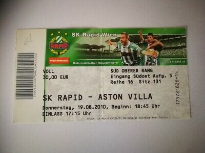 USED TICKET SK RAPID WIEN - ASTON VILLA 19/08/2010 EUROPA LEAGUE