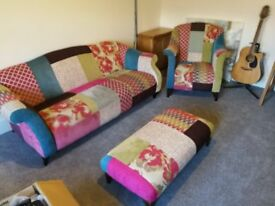 3 seater settee with chair and foot stool for sale £350 ono