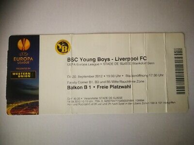 USED TICKET BSC YOUNG BOYS BERN - LIVERPOOL FC 20/09/2012 REDS EUROPA LEAGUE