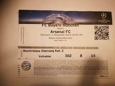 R2 TICKET BAYERN MUNCHEN - ARSENAL  04/11/2015 UEFA CHAMPIONS LEAGUE