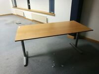 OFFICE DESK TABLE - ADJUSTABLE HEIGHT - 160CM (62 INCHES) LONG X 80CM (31 INCHES) WIDE - £20