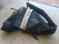 Bike tool pouch/ bag (to place inside frame, 2 zipped pockets & 1 net pocket, with straps & handle)