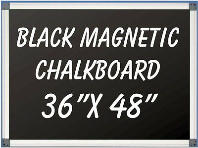 36 X 48 Aluminum Framed Black Magnetic Chalkboard Pen Tray Liquid Chalk Ok