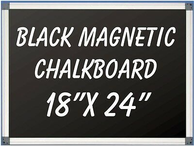 18x24 Aluminum Framed Black Magnetic Chalkboard With Pen Tray Liquid Chalk Ok