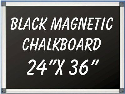 24 X 36 Aluminum Framed Black Magnetic Chalkboard Pen Tray Liquid Chalk Ok