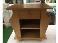 Storage Side / End Table With Drawer,Shelf & Magazine Rack In Light Wood. £15