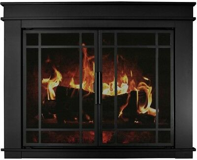 Fireplace Doors Small Clear Tempered Glass Steel Frame in Midnight Black Finish ()