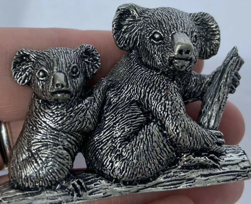 AUSTRALIAN BUCKINGHAM PEWTER KOALA BEAR MOM AND BABY  MINIATURE FIGURINE