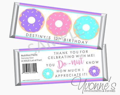 Donuts Birthday Candy Bar Wrappers - Donuts Birthday Theme Party - Set of 12