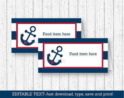 Nautical Anchor Blue & Red Buffet Tent Cards & Place Cards Editable (Blue Red Tent)