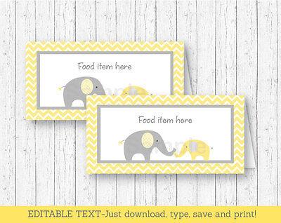 Yellow Chevron Elephant Buffet Tent Cards & Place Cards Editable PDF
