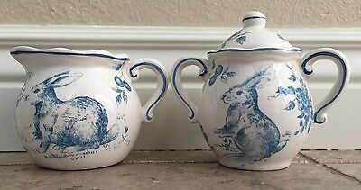 Maxcera Easter Bunny Blue And White Toile Sugar Bowl And Creamer Set