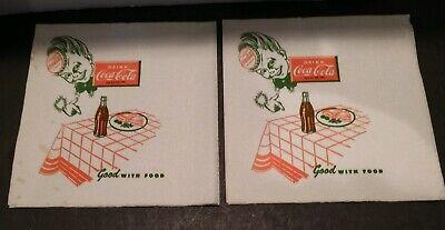 2 COCA COLA Vintage Coke Soda Fountain unused Sprite boy Napkins