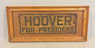 Antique Hoover for President Car Plate Mounted on Wood